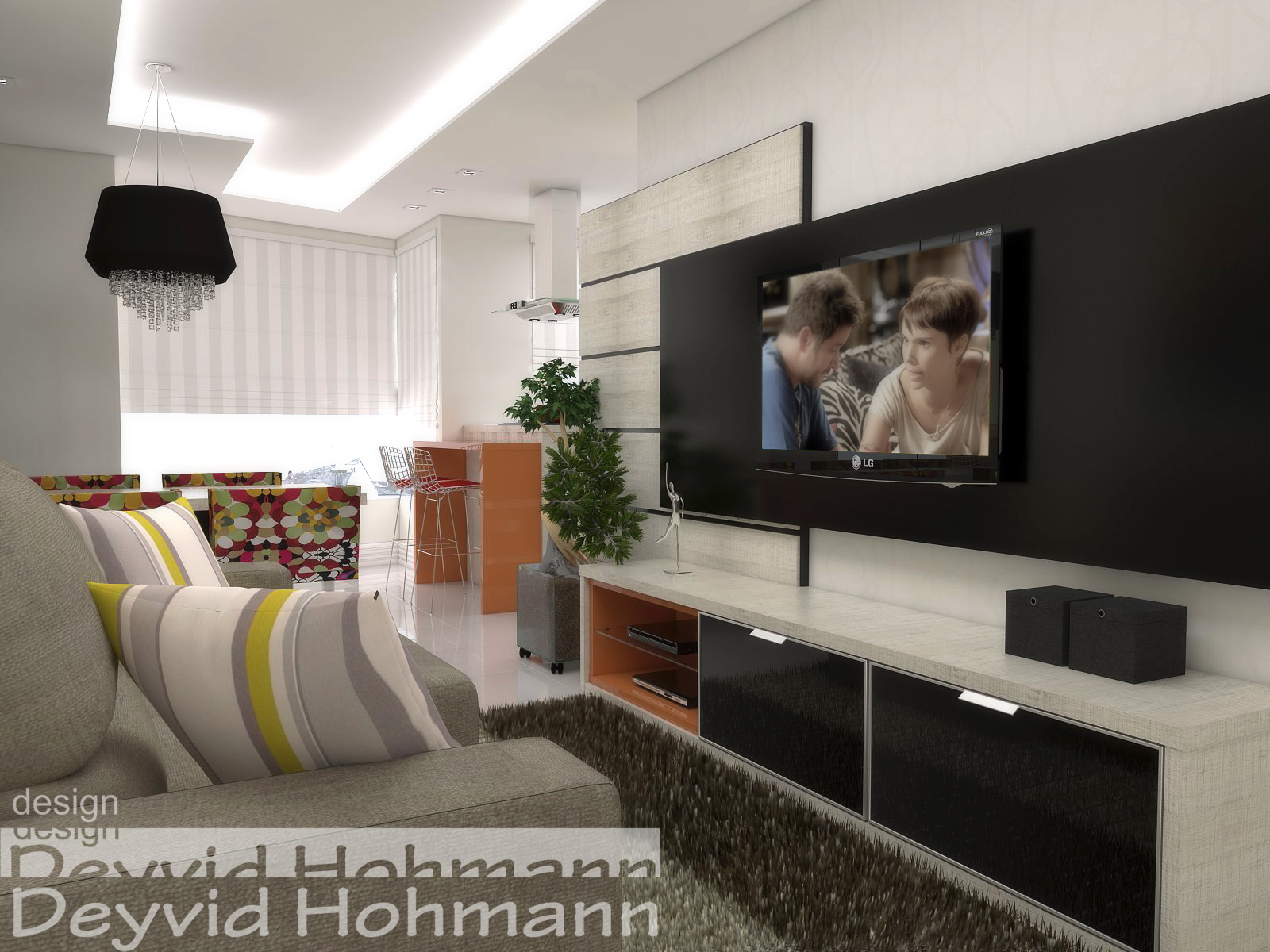 Deyvid Hohmann: Ambiente conjugado sala cozinha e lavanderia #A39228 1600 1200