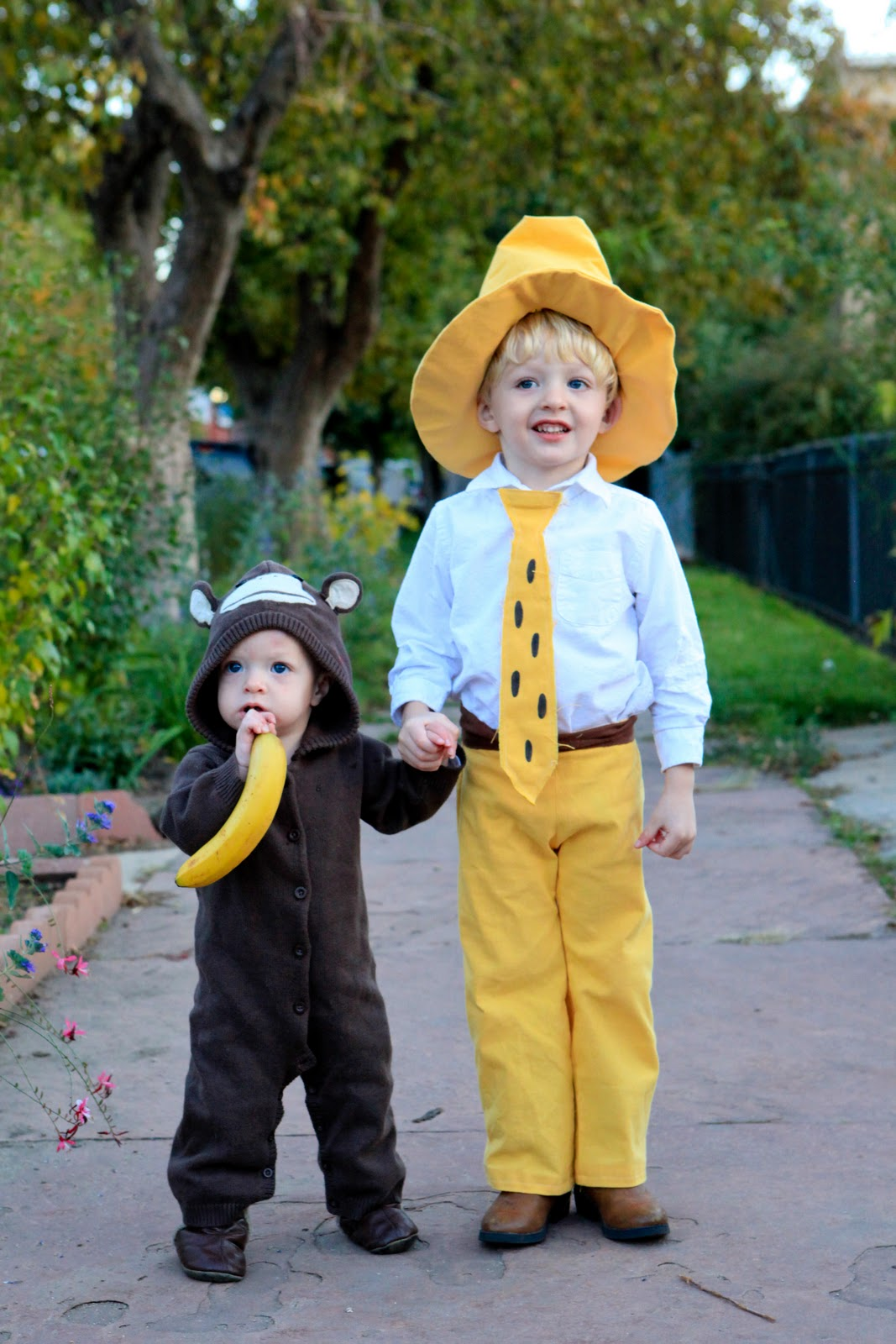 2011 halloween costumes- the man with the yellow hat and curious george