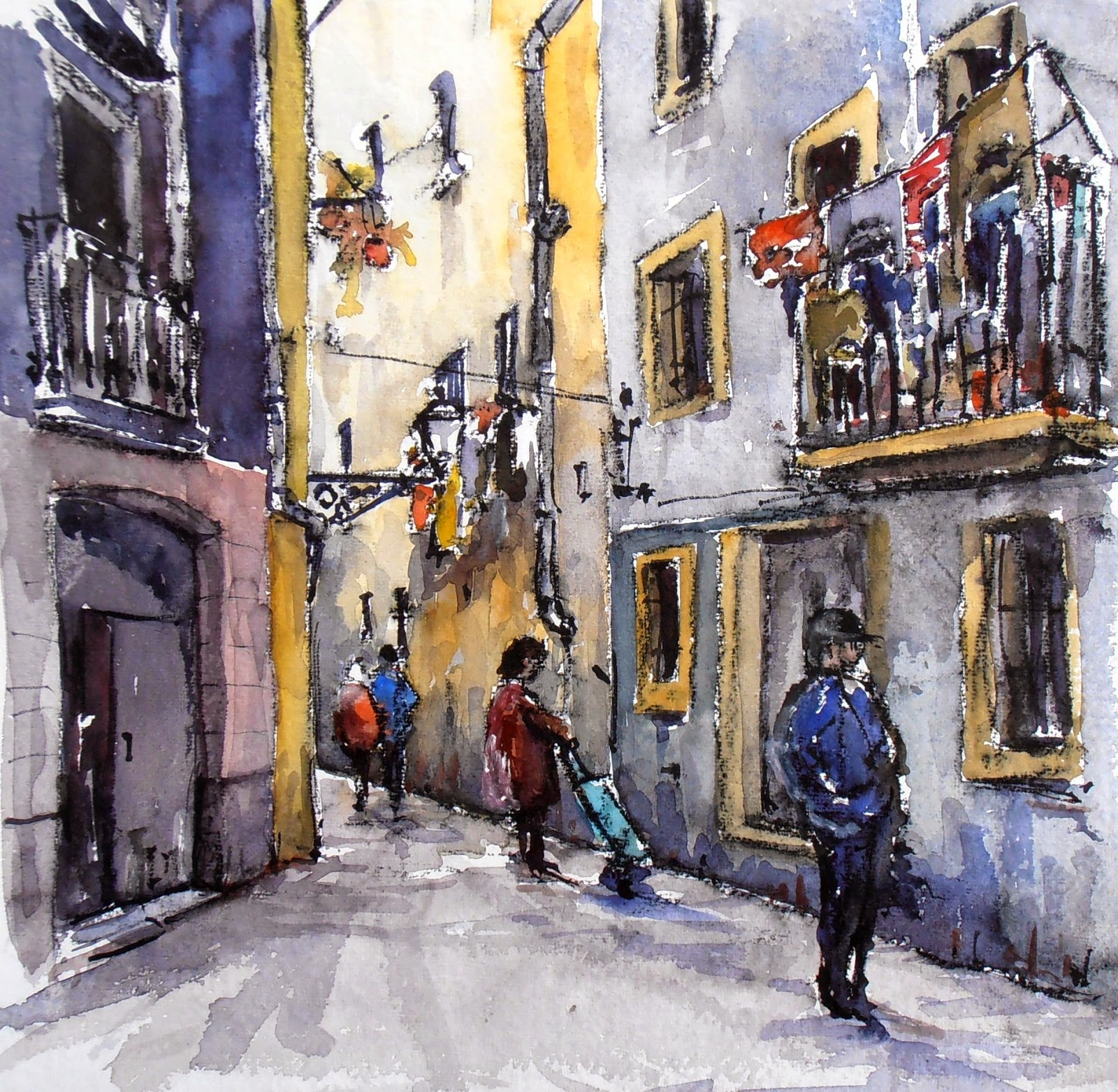 Joshemari larra aga acuarelas pasaje de las manufacturas - Calle montserrat barcelona ...