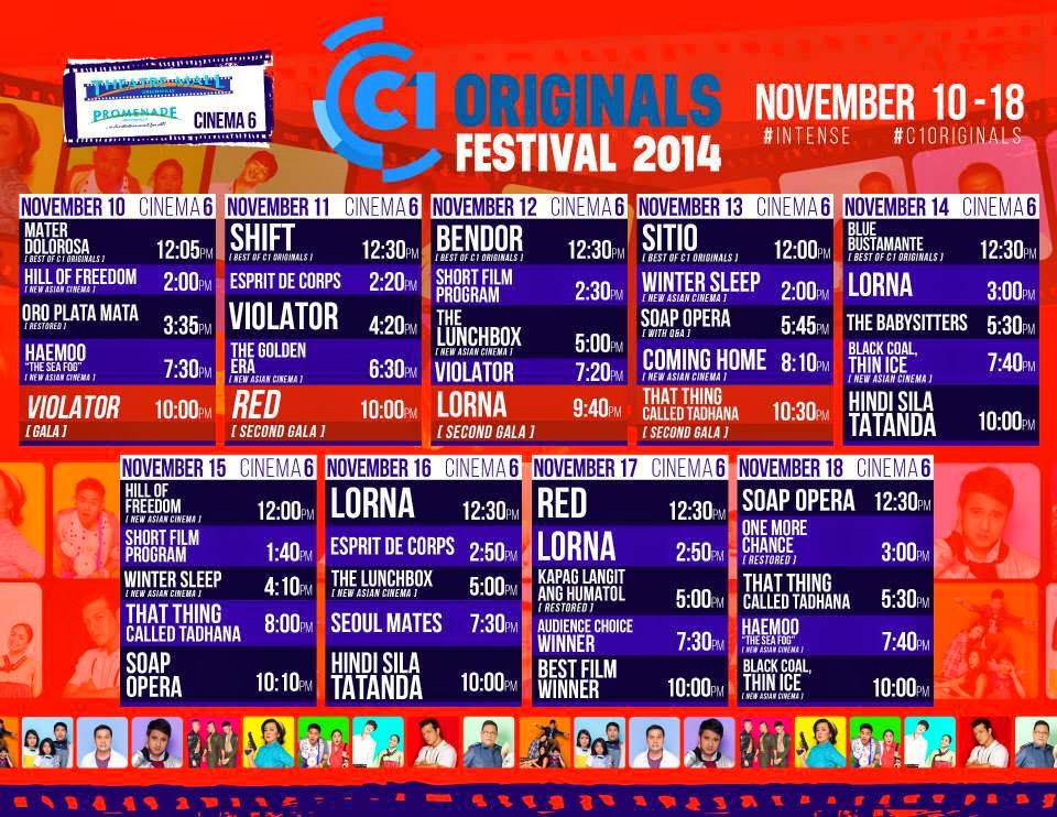 screening schedule cinema one originals festival 2014