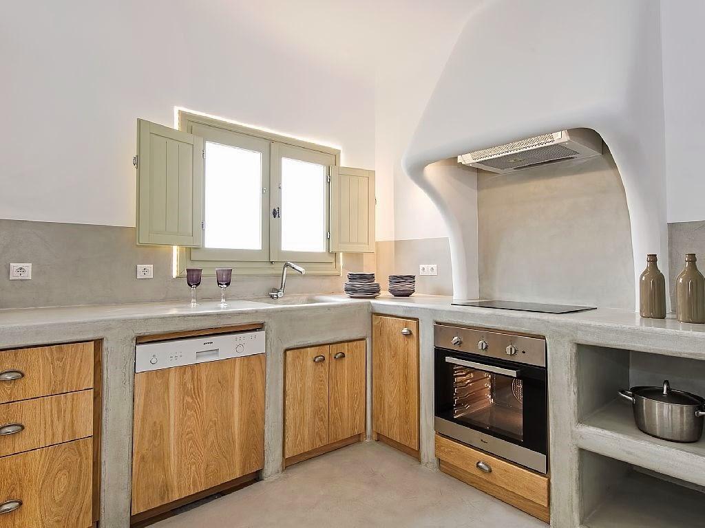 Casa en santorini for Cocinas de concreto modernas