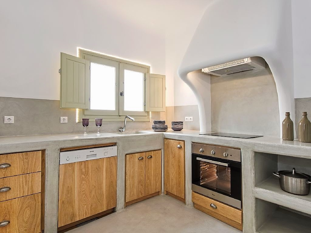 Casa en santorini deco inspiraciones for Cocinas modernas en cemento