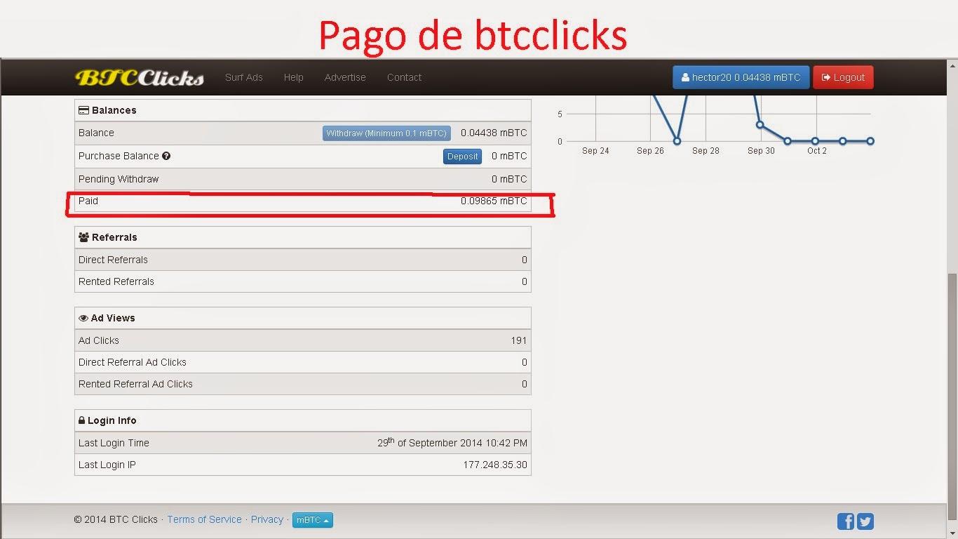 Btcclicks - gana bitcoins viendo anuncios - prueba de pago btcclicks - BTCclicks payment proof