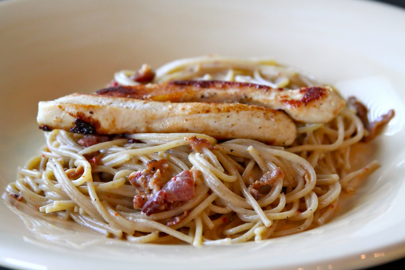 Bethenny's Low Fat Pasta Carbonara with Chicken