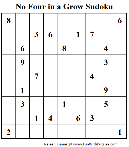 No Four in a Grow Sudoku (Daily Sudoku League #111)