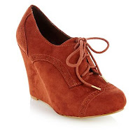 Terracotta 'Harwin' brogue high wedge shoe boots - H! by Henry Holland