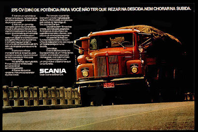 caminhão Scania,  anos 70.  brazilian advertising cars in the 70. história da década de 70; Brazil in the 70s; propaganda carros anos 70; Oswaldo Hernandez;
