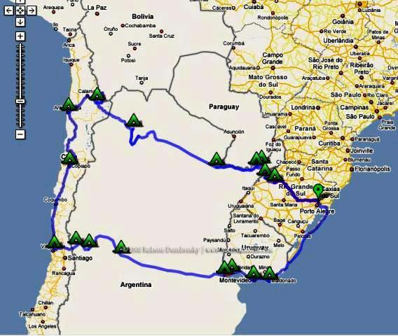 mapa de viagem de moto ao atacama