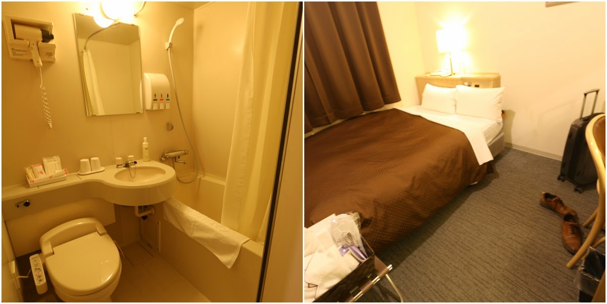 Typical small room with bathroom is sufficient for a place for tourists to rest before continuing your journey in Japan