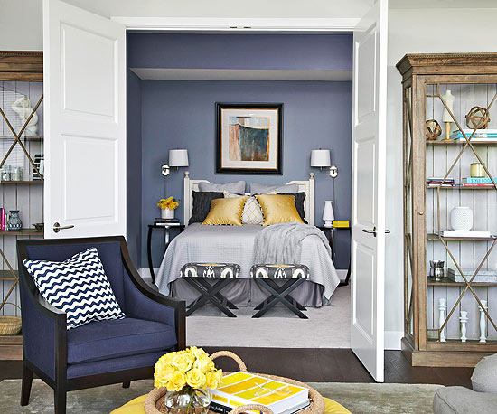 Navy Blue And Yellow Bedroom