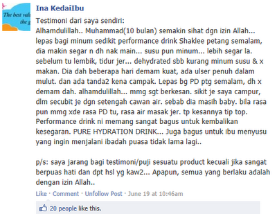 testimoni performance drink shaklee