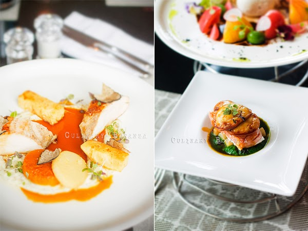 Left: low temperature cooked turkey breast slices served with black truffle, scented winter vegetables puree and roasted turkey bone jus | Right: Antipasto Caldo Mozzarella Affumicata