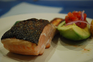 Grilled Salmon, Tomato Salsa, Avocado