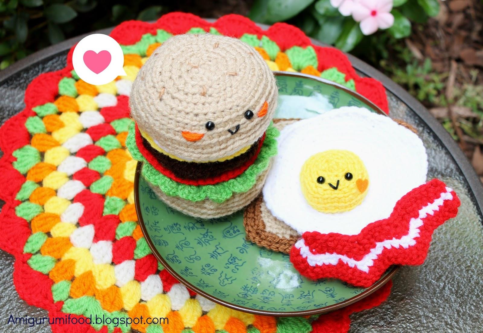 Amigurumi Food: Bacon+Fried egg+Burger=Love