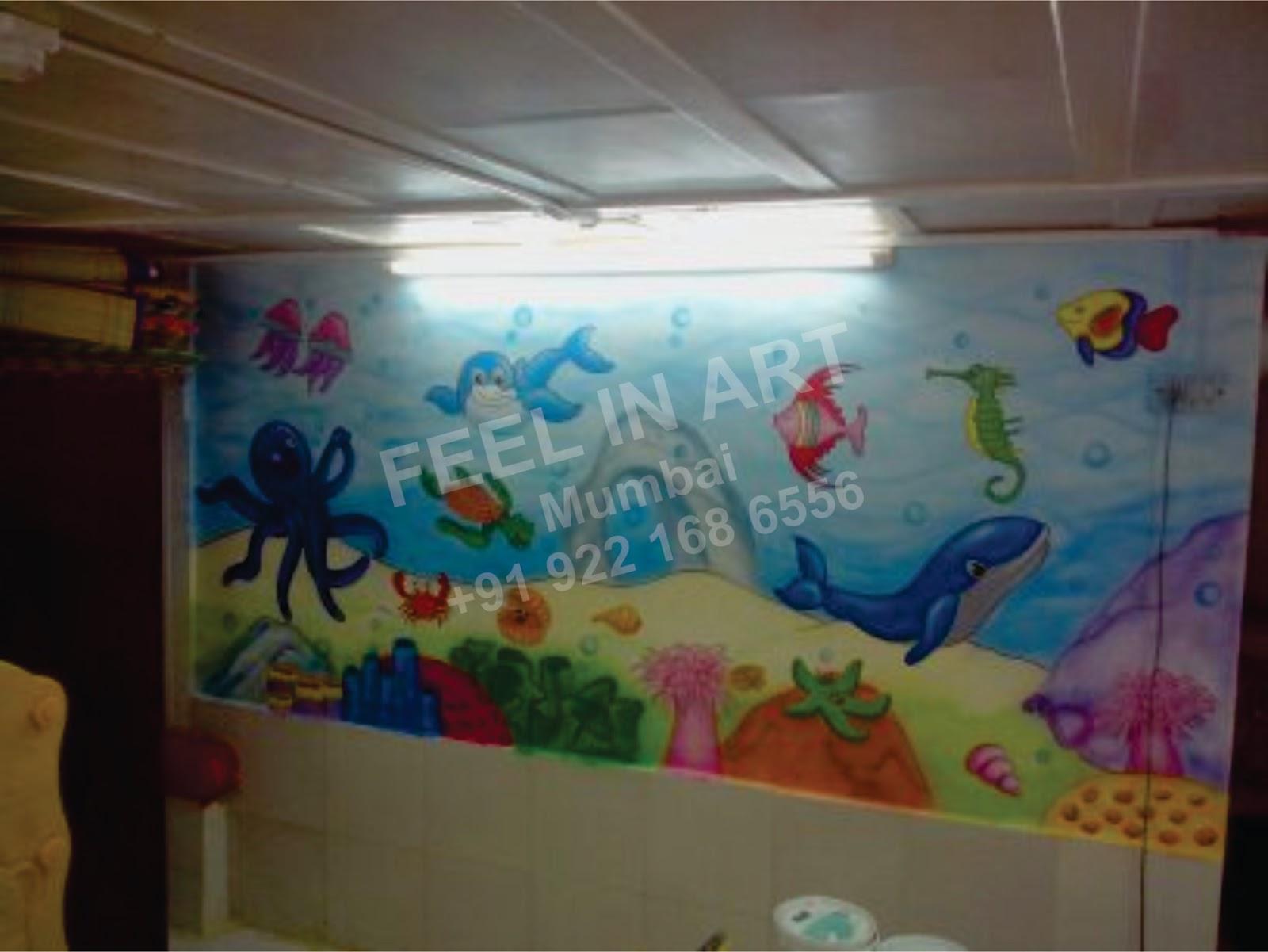 Classroom Mural Design ~ Play school wall painting pre classroom cartoon