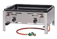 Bake-Master 'Maxi' rama otel inoxidabil  cu tigaie pentru prajit emailata,pentru gaz propan, dimensiuni interioare a tigaii 590x480mm, aprindere piezo electrica, termocupla, consum 720 g/u 650x540x(H)300 mm Putere 9.2KW, 50 mbar