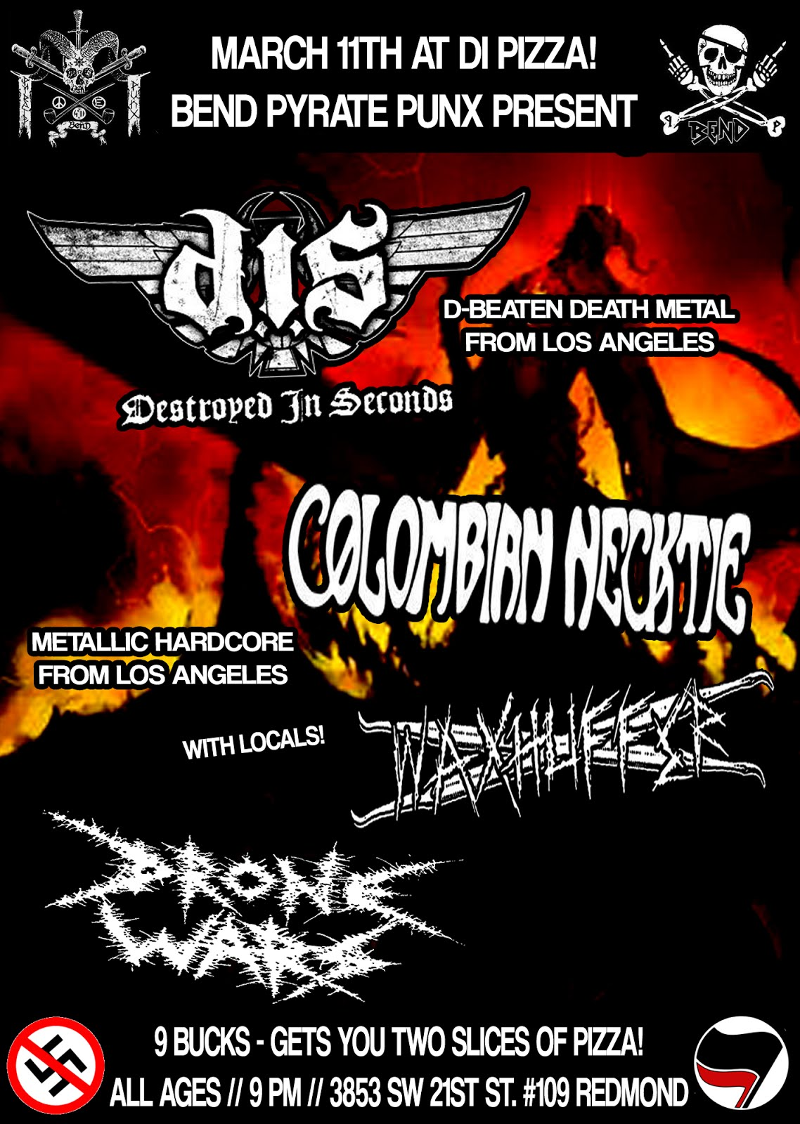 DESTROYED IN SECONDS, COLOMBIAN NECKTIE, DRONE WARS, AND WAXHUFFER