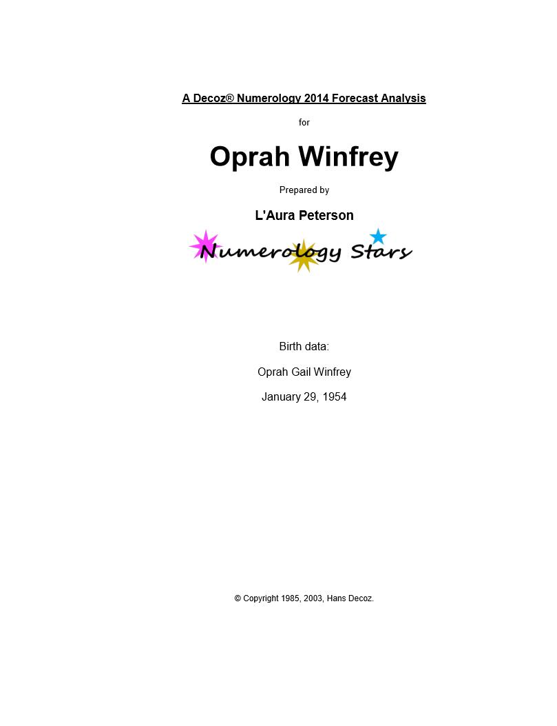Sample Forecast For Oprah Winfrey
