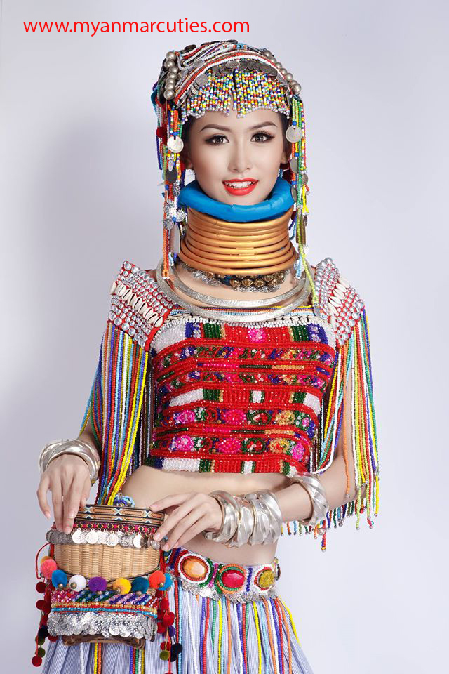 Myanmar traditional traditional dress myanmar fashion fashion dress - Angel Lamung Is With Combination Of Costumes Of Multi