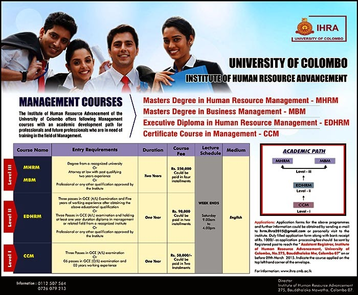 """The Institute of Human Resource Advancement (IHRA) is one of the Institutes attached to the University of Colombo (IHRA-UOC) and it has been established under the Ordinance No.11 of 1979 which was amended by Ordinance No. 01 of 2006. IHRA is advancing according to the global and local developments through the """"knowledge economy""""."""