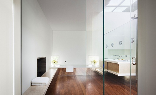 Photo of modern small minimalist bathroom with glass surfaces