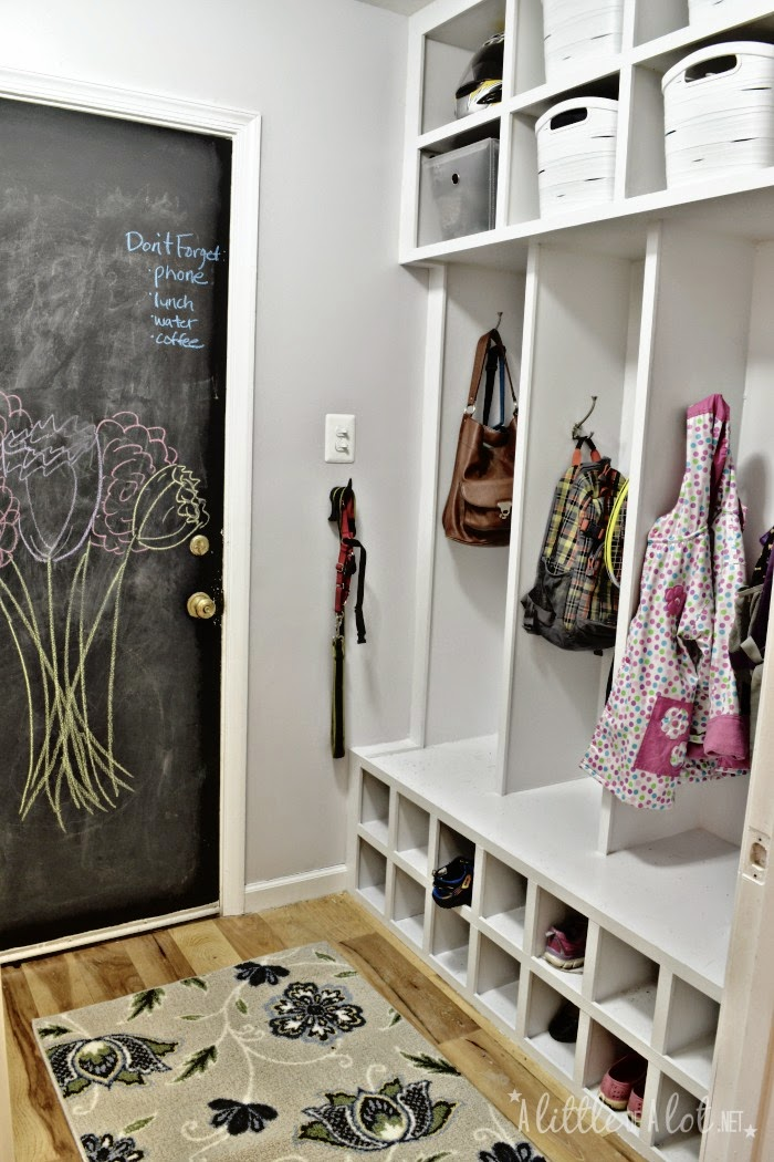 chalkboard painted door, white lockers and cubbies