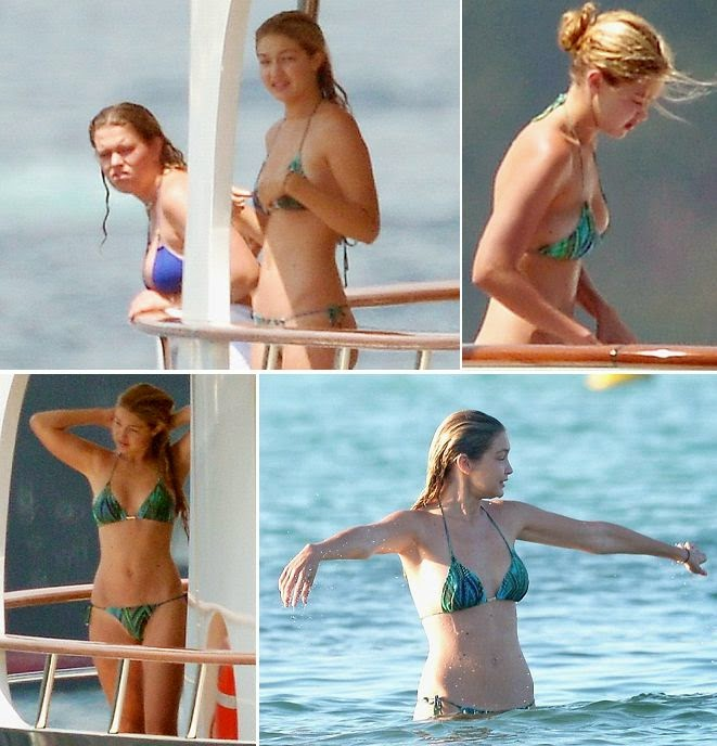 That's right, the 19-year-old showed off her incredible anatomy and lean figure in a green bikini as she is fortunately finding time to relax on a private yacht in Saint Tropez on Monday, August 4, 2014.