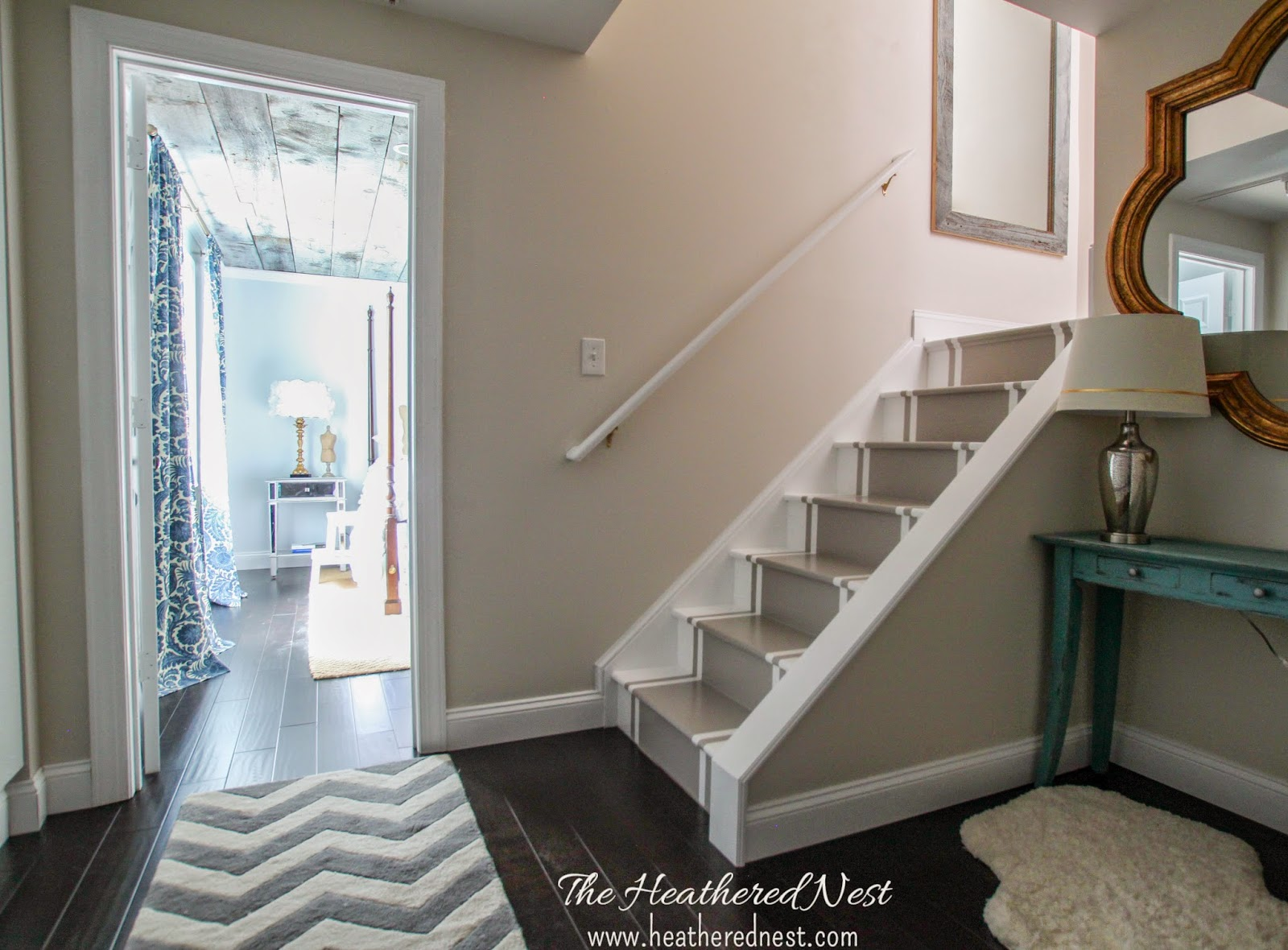 painted basement stairs. Painted Stripe Stairway Runner | Brightened Up Basement Makeover Painted Basement Stairs A