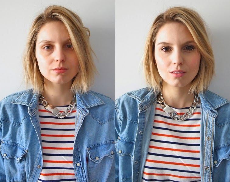 Before and after, without makeup, with makeup, NARS, Rings & Tings chunky ID chain necklace, Levi's denim shirt