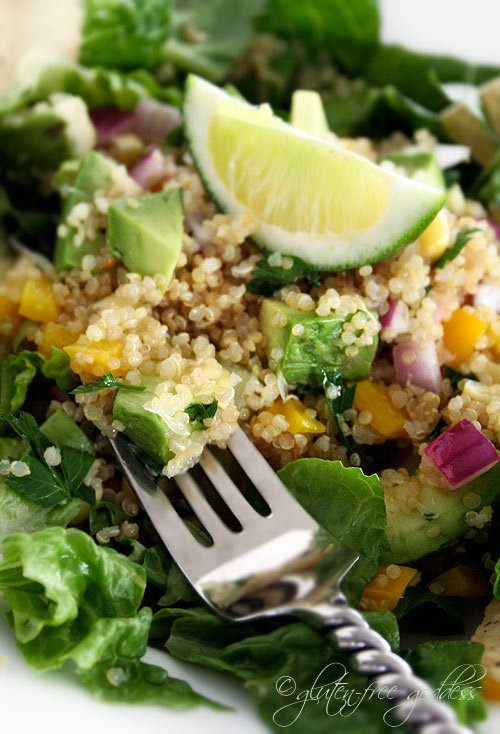 Gluten-free quinoa salad with lime and avocado