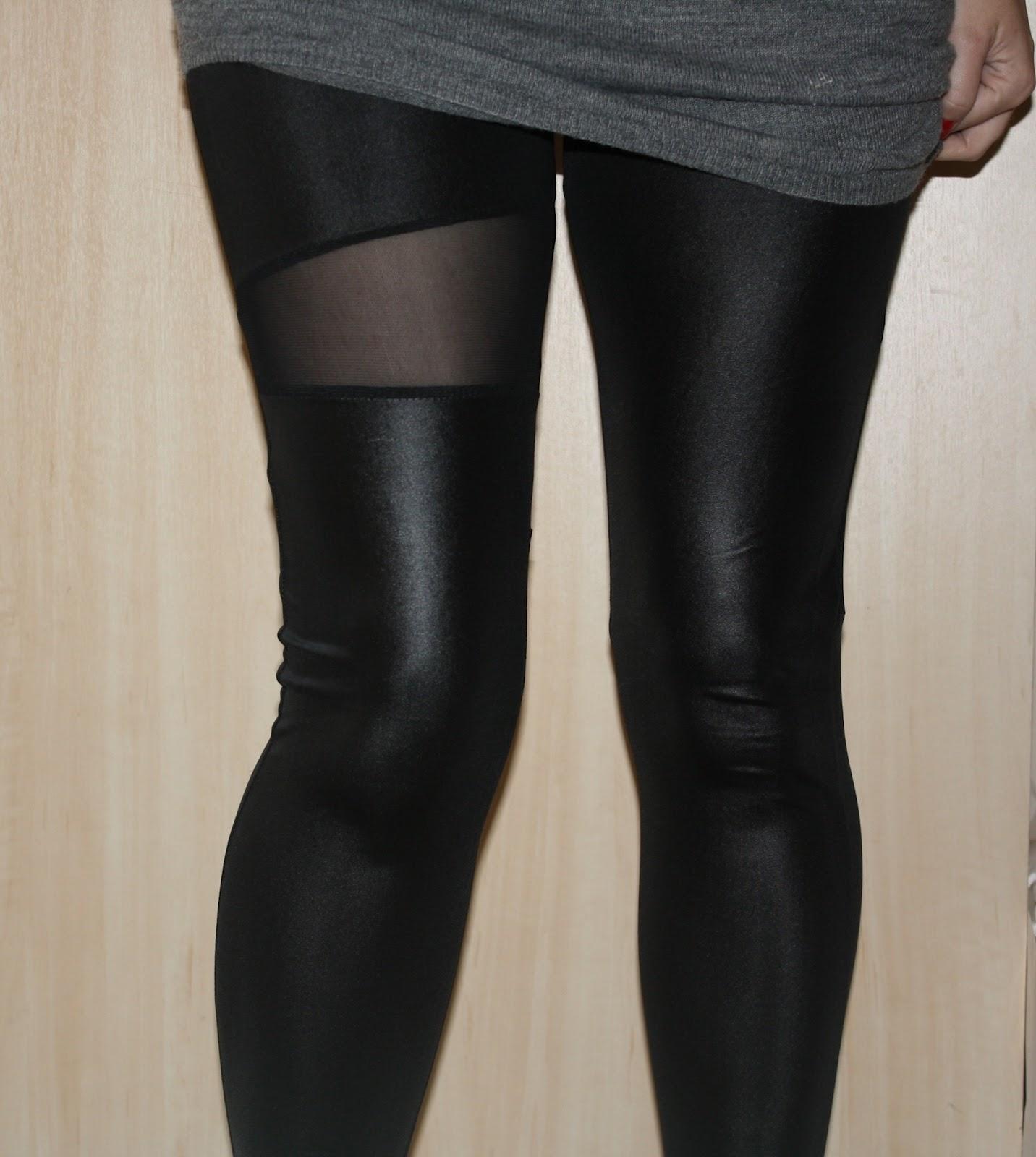 Oasap Leather-look & Mesh Spliced Leggings | Lippy in London - UK ...
