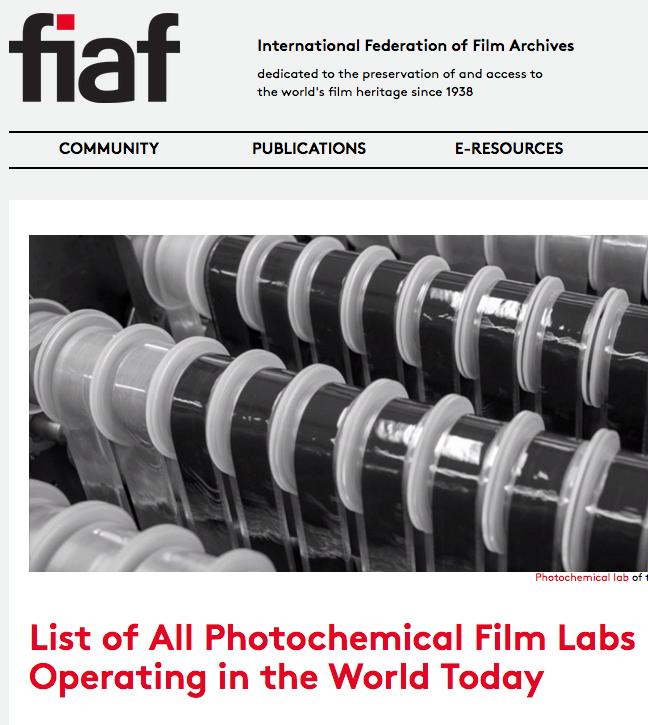 Listado de todos los laboratorios fotomecánicos operando en el mundo (FIAF)