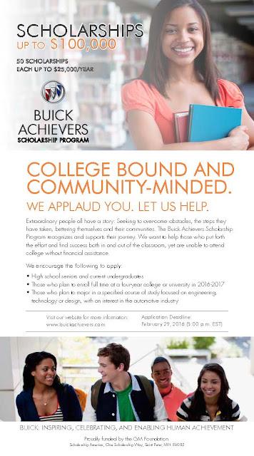 Buick Achievers Scholarship Program Autos Weblog