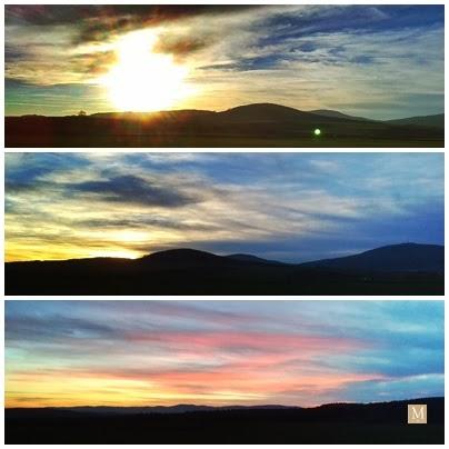 Zachód słońca nad górami sowimi widziany ze wzgórz oleszeńskiich