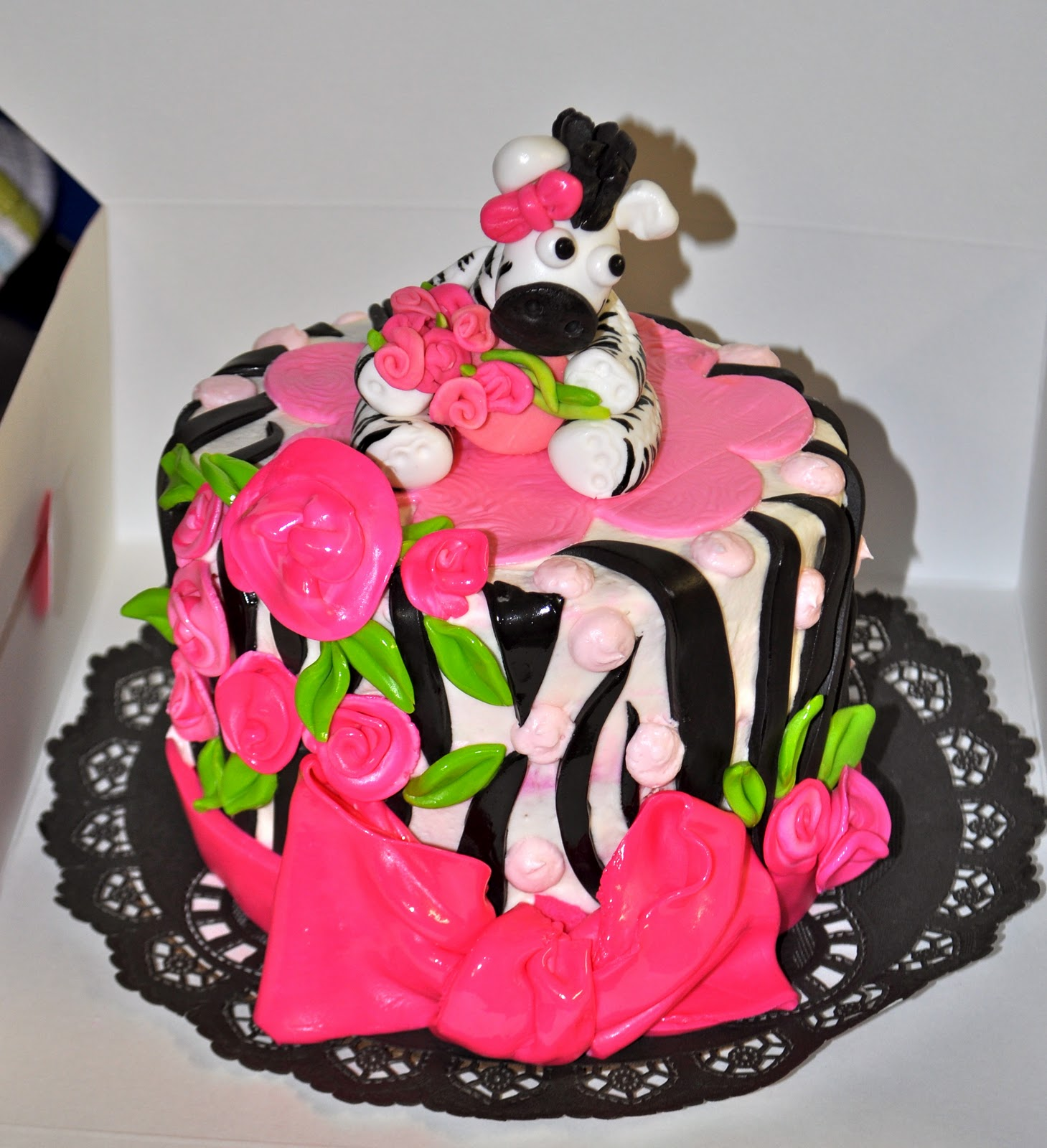 Zebra Print Baby Shower Cake and Cupcakes