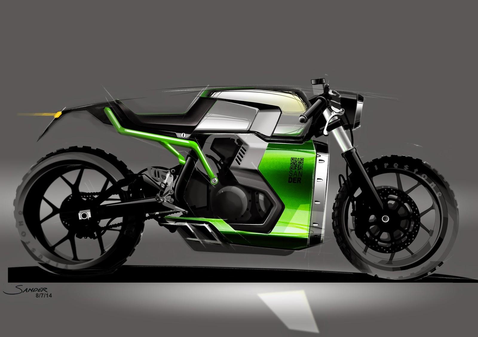 Motorbike Motorcycle Sketche design Cafe Racer