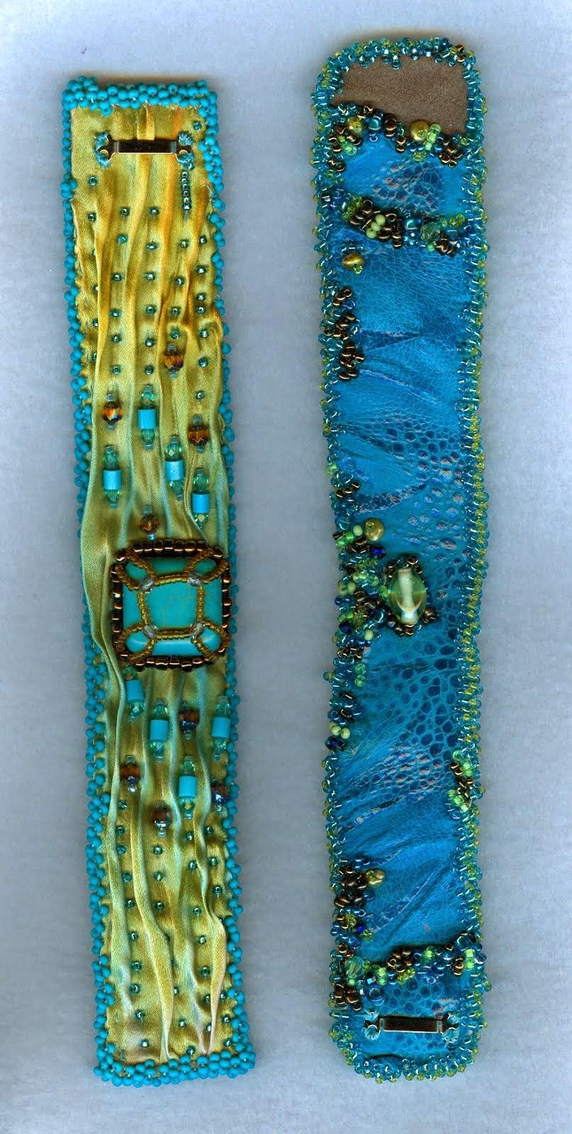 shibori silk and cane toad cuffs