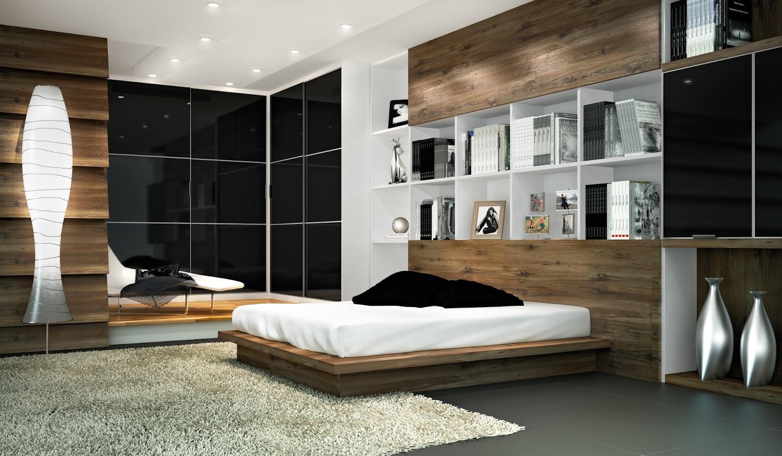 nichos e estantes planejadas para quarto de casal