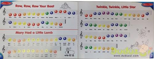 特別設計的琴譜,以顏色及數字簡譜引導標示彈奏