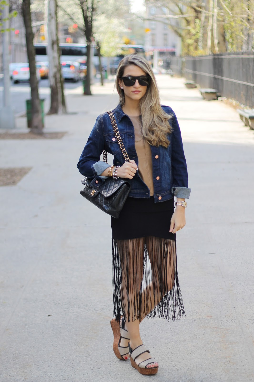 Schutz Emiliany Flatform Sandals, Line & Dot Gloss Fringe Skirt,  Mango Dark Denim Jacket,  Chanel Classic Flap Bag,  Super Flat Top Sunglasses