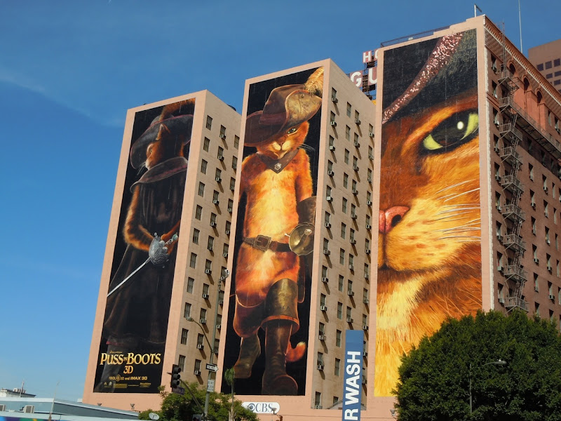 Puss in Boots movie billboards Downtown LA
