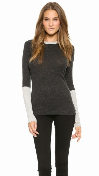 Enza Costa Cuffed Crew Neck Top