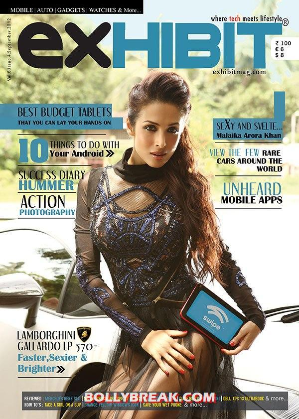 Malaika Arora looking super hot in a black dress on cover of Exhibit -  Malaika Arora on Exhibit September 2012