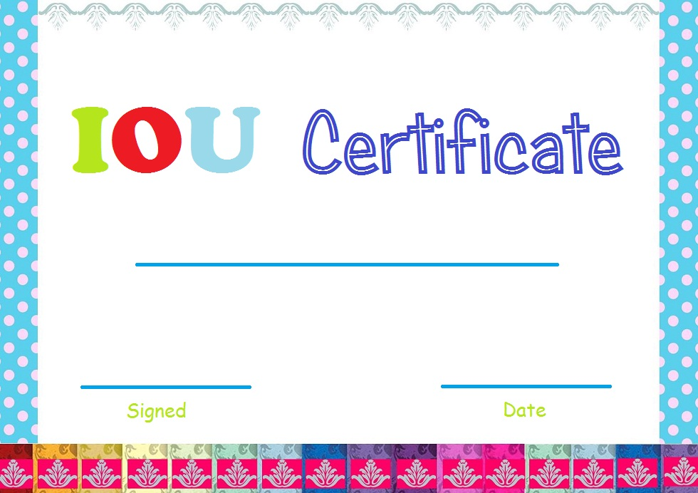 This printable IOU certificate