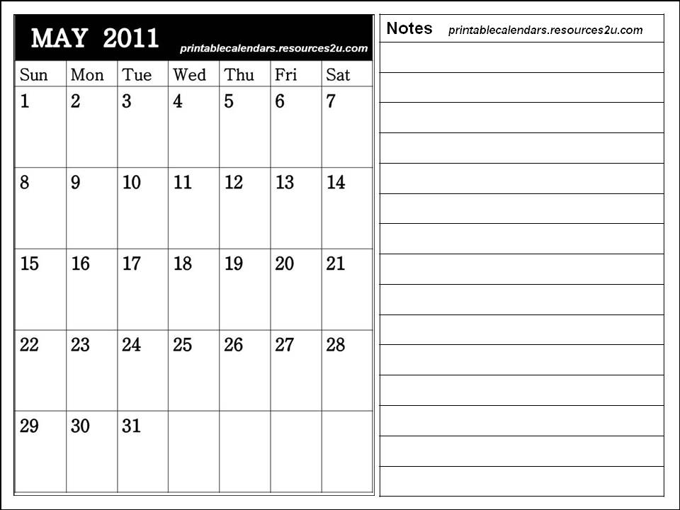 may calendar for 2011. Downloadable Calendar May 2011