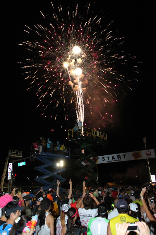 Honolulu Marathon start line fireworks