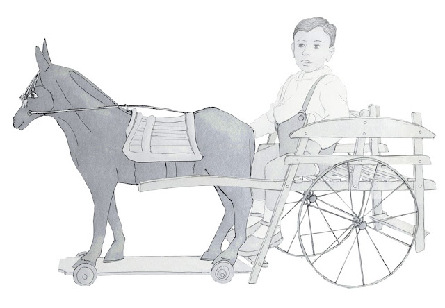 niño, carro, caballo carton, años 20, dibujo