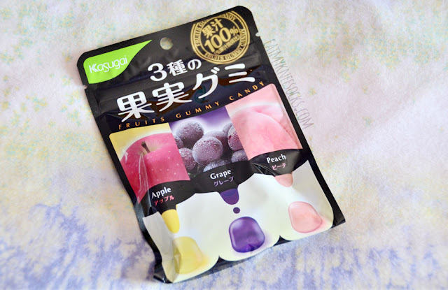 The tenth and final snack in the September 2015 Skoshbox DEKAbox was a bag of assorted Kajitsu fruit-flavored gummy candies in peach, grape, and apple flavors.