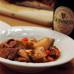 Irish pub beef stew in a bowl