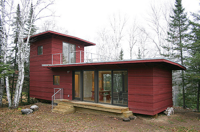 red prefab house in Superior Duluth